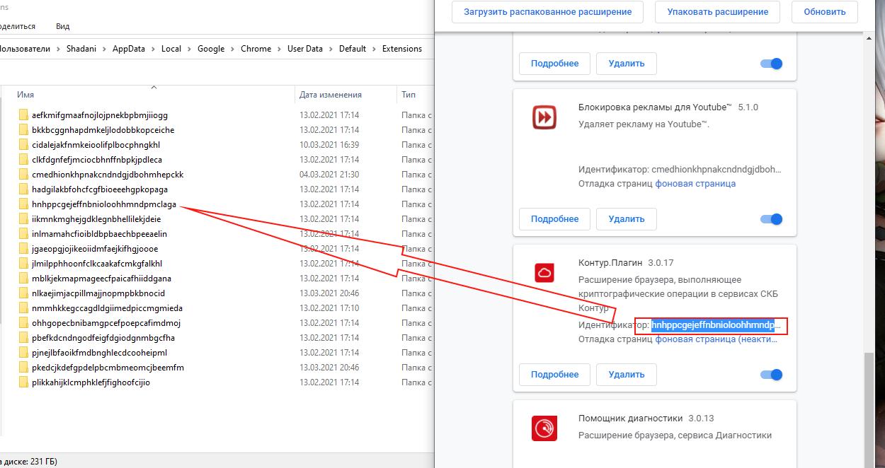 Распакованные расширения Chrome